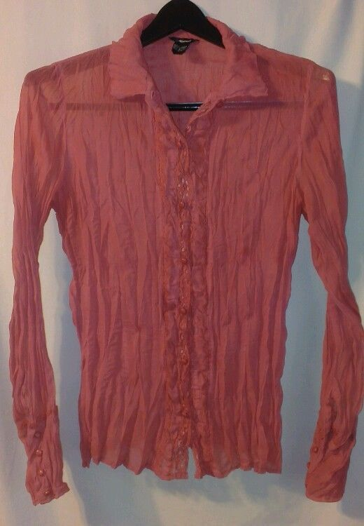 571a86e8439 MAURICES Large Mauve Pink Blouse BOHO Lace Button Front Pleated Crinkle Top   Maurices  Blouse  Casual
