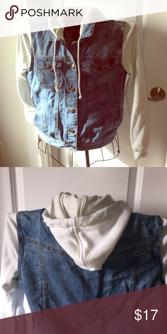 Forever 21 Hooded Jean vest Jacket This cute jacket is a jean vest with a white sweatshirt like material on that arms and hood! It is in good shape and super cute 😊 Forever 21 Jackets & Coats