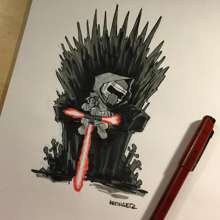 I'm Taking bids now on this original #lilkylo Mashup drawing. Opening bid is $50 USD. Please bid in the comments here in at least 5 dollar increments. The highest bid at 12 noon PST wins! #starwars #gameofthrones #mashup