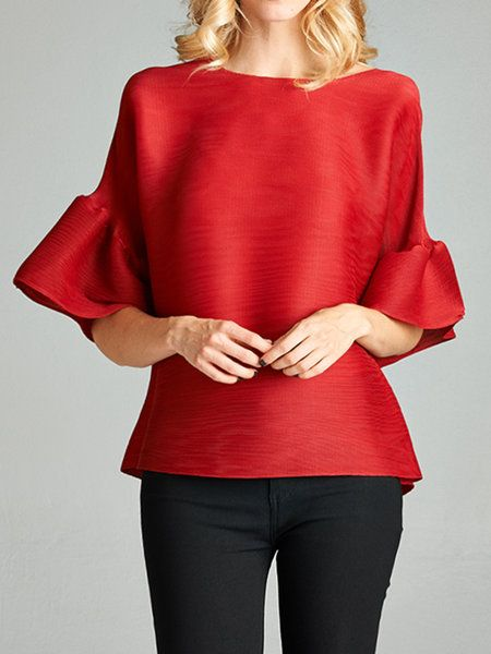 Shop Blouses - Red H-line Solid Pleated Frill Sleeve Blouse online. Discover unique designers fashion at StyleWe.com.