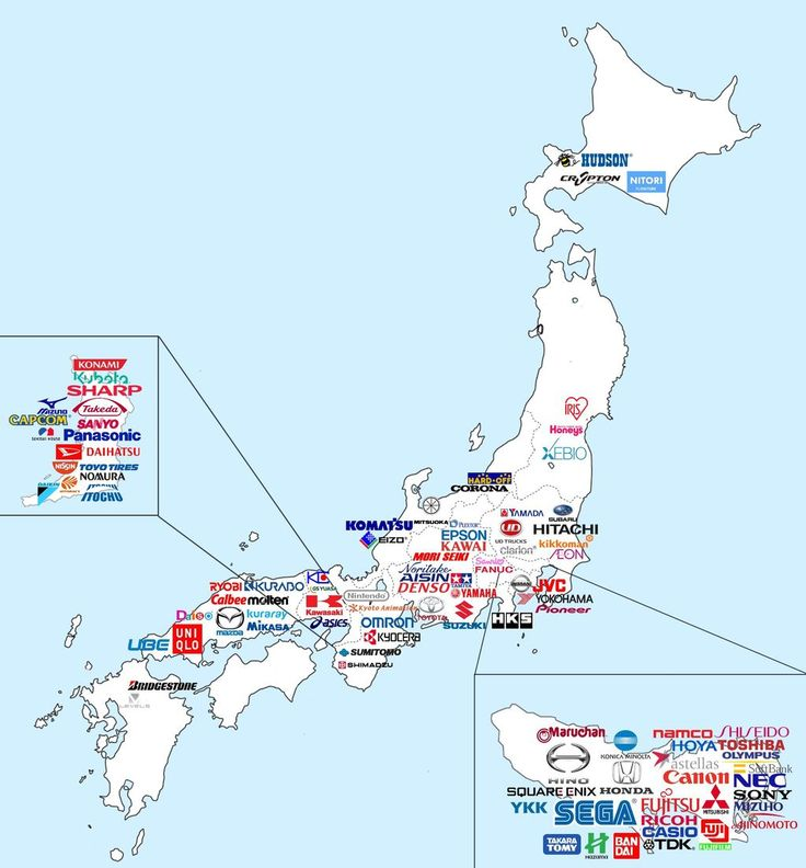 Major Japanese companies map. - [ Learn Japanese Words with Pinterest by webjapanese.com ]