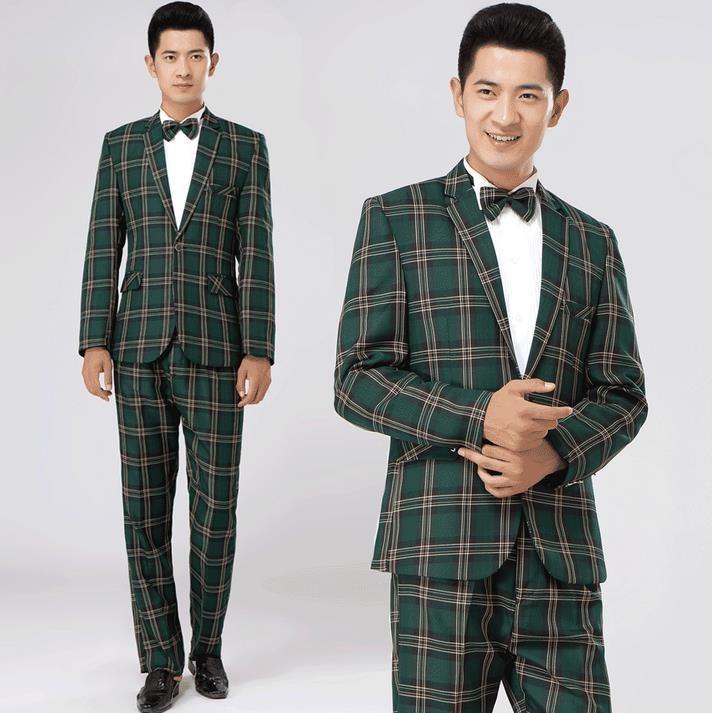 Green brown plaid formal dress male suit set men suit latest coat pant designs mens suits wedding groom suit + trousers + tie //Price: $94.64 & FREE Shipping //     #hashtag4