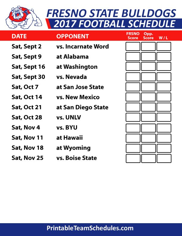 2017 Fresno State Bulldogs Football Schedule