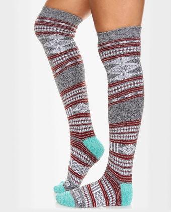 Billabong Stand Tall Aqua and Red Tribal Knit Socks