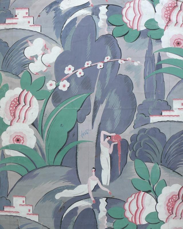 French gouache wallpaper - #textile