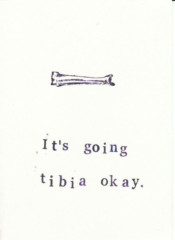 Funny Stamped Skeleton Anatomy Card Tibia by ModDessert on Etsy, $2.00