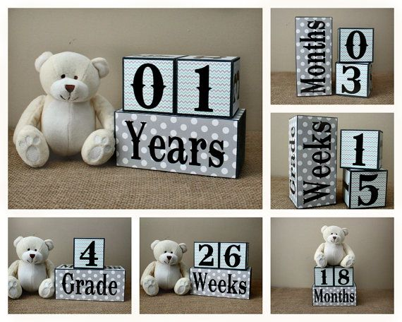 Personalized Baby Age Wooden Blocks - Baby Shower Gift - Milestone Blocks - Pregnancy and Baby Photo Prop - Mint Grey Baby Wood Blocks