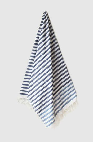 Sheker Candy Stripe Turkish Towel Indigo and Storm - $49 AUD