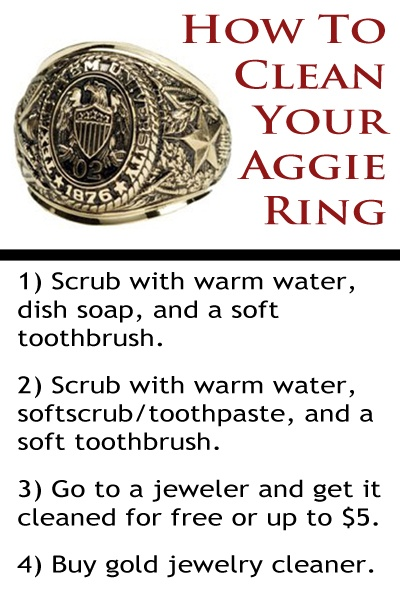 For those of you getting your Aggie Ring this Friday, here are some cleaning tips for your gold!