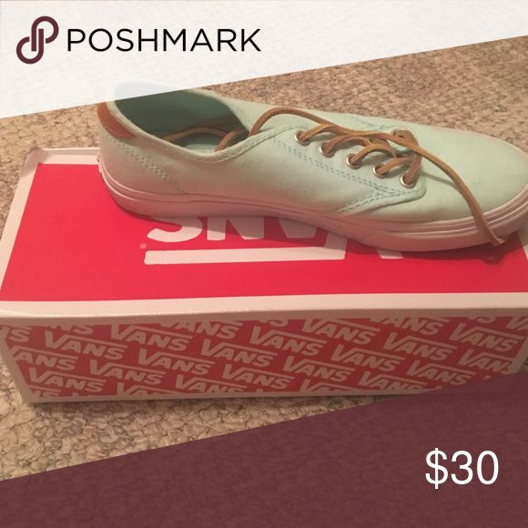 Mint Green Vans- Authentic Style Mint green vans worn once. Leather laces with regular cloth laces included! Very good condition! Vans Shoes Sneakers