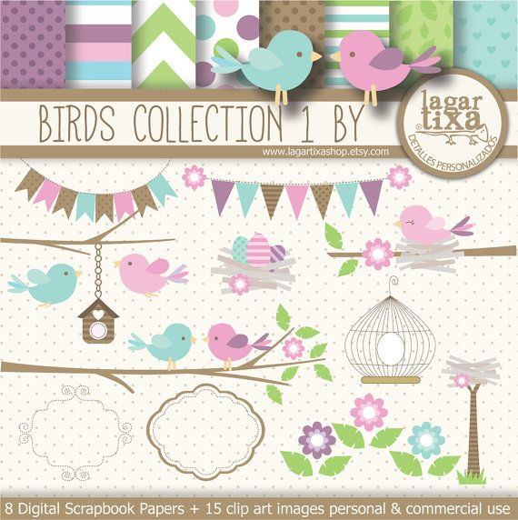 Birds Nest tree cage clip art pastel Pink teal green Digital Paper patterns chevron polka dots frame invitations baby shower printables