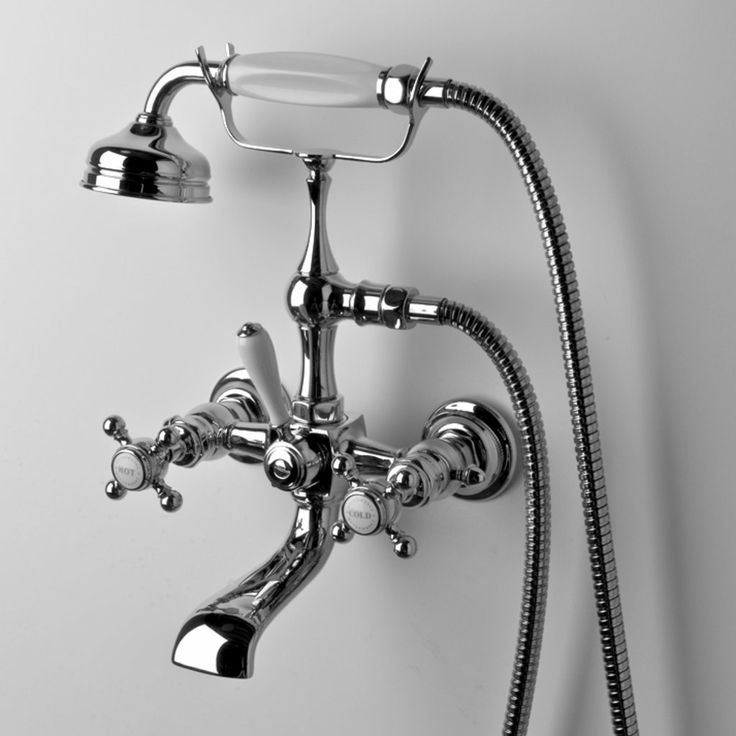 Waterworks Julia Collection Wall Mount Tub Filler With Handshower And Cross Handles