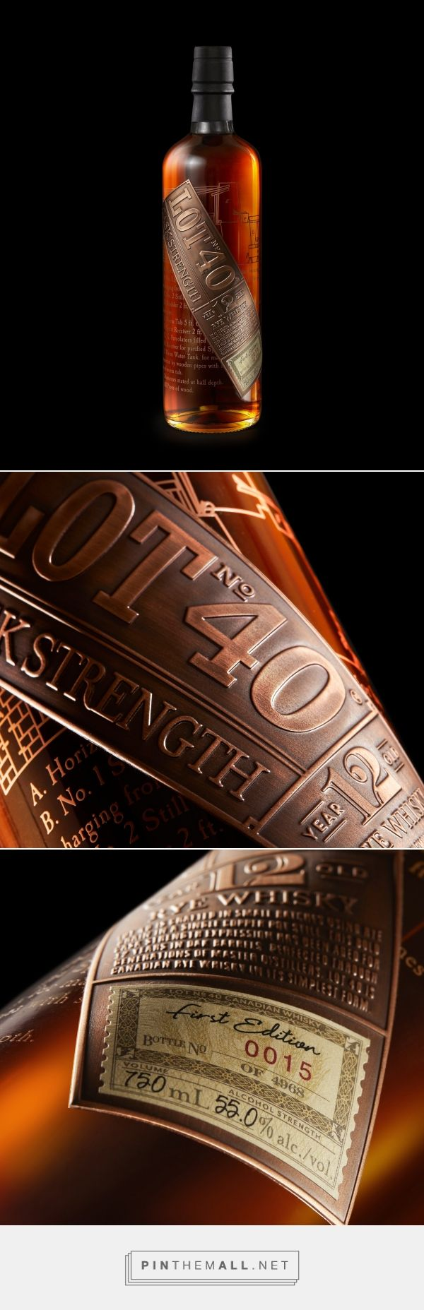 Lot 40 Cask Strength whisky packaging design by Davis - branding & design - http://www.packagingoftheworld.com/2017/12/crafted-by-elements.html