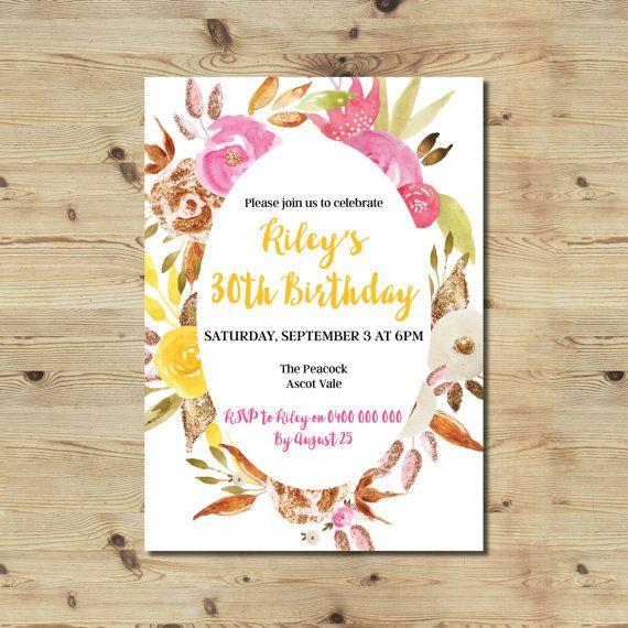 30th Birthday Invitation  Floral Invitation  Birthday