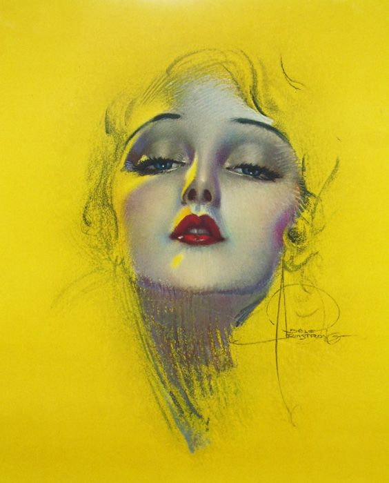 vintage rolf armstrong | Large Rolf Armstrong RARE Art Deco Cherie Printers Proof Pin Up Print ...