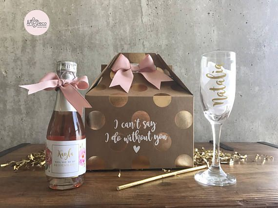 BRIDESMAID CHAMPAGNE gift set / custom bridesmaid gift kit /