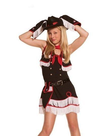 Cowgirl Halloween Costume Girls S M Small Medium Tween Dress Hat Set Western #ElegantMoments #CompleteCostume