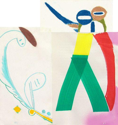 Aurelio Ayela FlatMountain-nº10 2005.Pastel,rotulador,spray,collage s/papel . 40x38cm. MORE