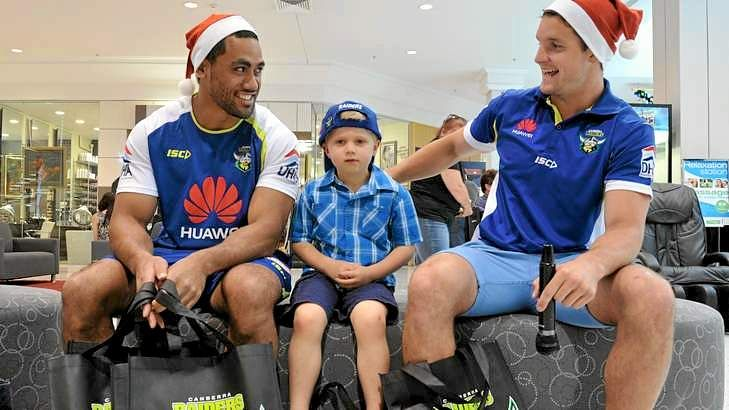 Canberra Raiders players Bill Tupou and Jarrod Croker in lead up to 2013 Christmas.