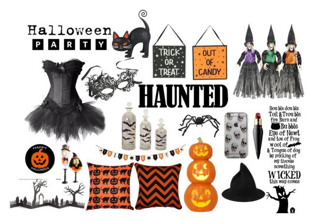 """Let the Halloween begins"" by emiliamariaa on Polyvore featuring interior, interiors, interior design, home, home decor, interior decorating, Christian Louboutin, Grandin Road, Pillow Decor and Crate and Barrel"