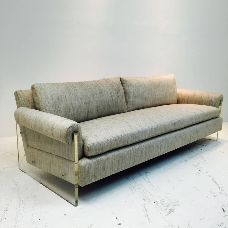 Pair of Vintage Lucite Sofas with New Upholstery | From a unique collection of antique and modern sofas at https://www.1stdibs.com/furniture/seating/sofas/