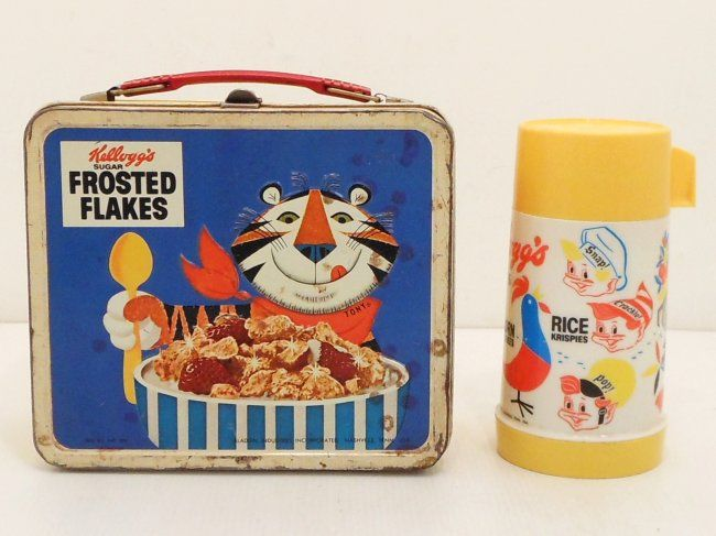 Vintage Kellogg's Cereals Lunch Box Thermos : Lot 399