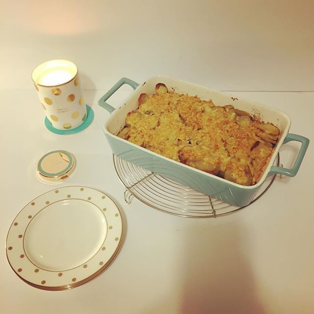 Potato gratin for dinner.  #gratin #americastestkitchen #katespade  #ポテトグラタン #夕ご飯 #ケイトスペード