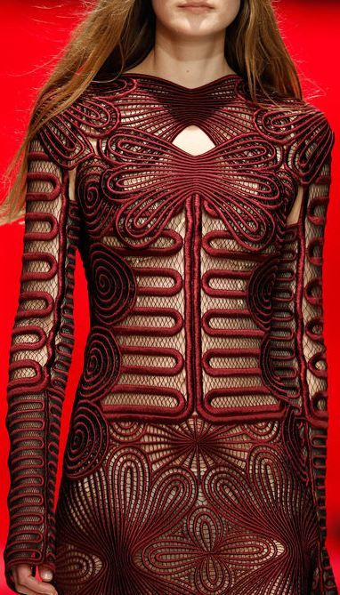 Christopher Kane Fall 2013 London. deep red gown