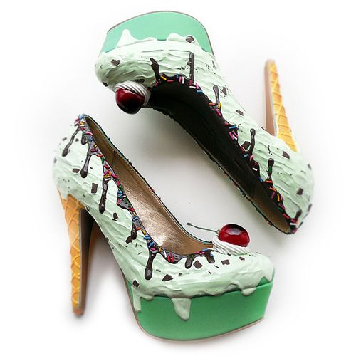 shoe bakery mint choc chip ice cream decoden shoes