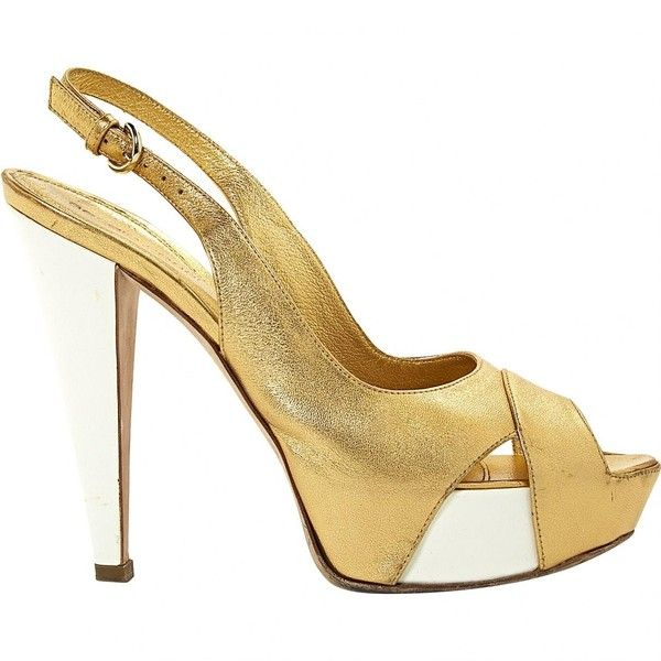 Pre-owned Sergio Rossi Leather Sandal (€190) ❤ liked on Polyvore featuring shoes, sandals, gold, women shoes sandals, white platform sandals, leather sandals, white slingback shoes, platform sandals and open toe slingback sandals