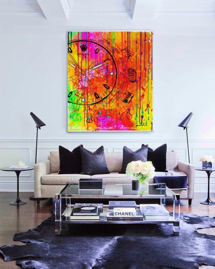 Tableau Design Rolex Rouge Tableau Design Peintures Pastel A L Huile Decoration Murale