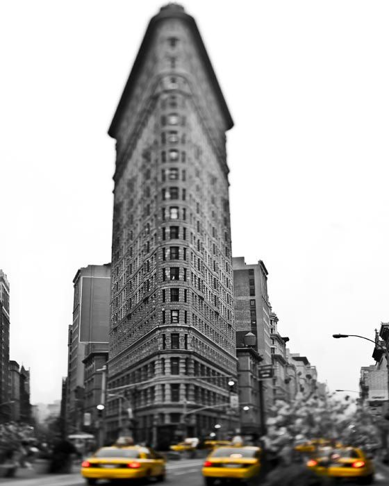 Flatiron Building, New York City, Yellow Taxi, black and white Photography, NYC Art, New York Print, NY Taxi