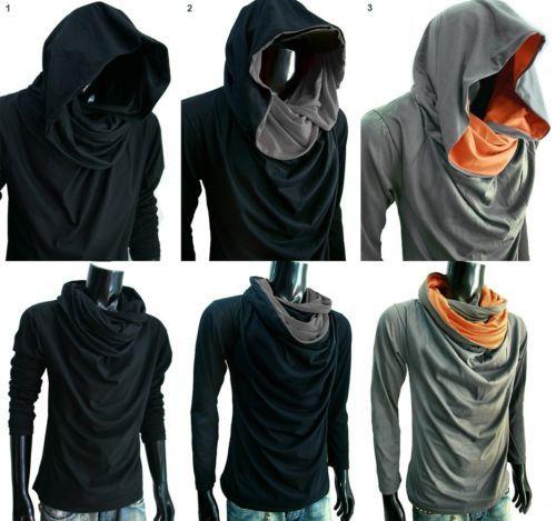 New Men Turtle Cowl Neck Hoodie Long Sleeve Shirt T Shirt Gym Sz s M L XL XXL | eBay