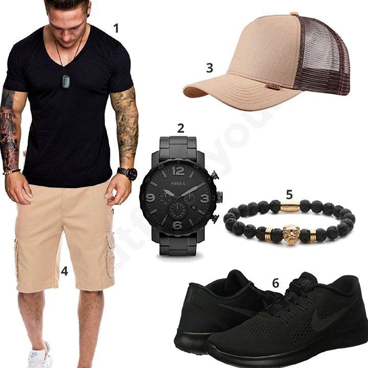 Starkes Herren-Outfit mit schwarzem Amaci&Sons Shirt, Fossil XXL-Uhr, Nike Sneakern, beiger Djinns Cap, Rock Creek Cargo-Shorts und Obelizk Armband.