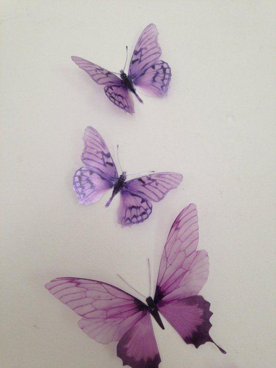 4 Luxury Amazing Lilac Butterflies 3d Butterfly Wall Art Etsy Purple Butterfly Tattoo Butterfly Tattoo Designs 3d Butterfly Wall Art
