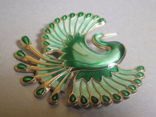 Large-DAVID-ANDERSEN-Norway-STERLING-Silver-ENAMEL-Bird-of-Paradise-Green-Brooch