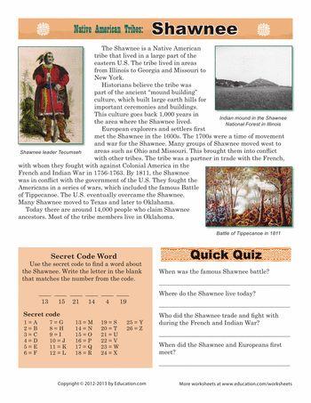 Worksheets: Native American Tribes: Shawnee Tutors, Worksheets and more at: www.TutorFrog.com/worksheets-wyzant