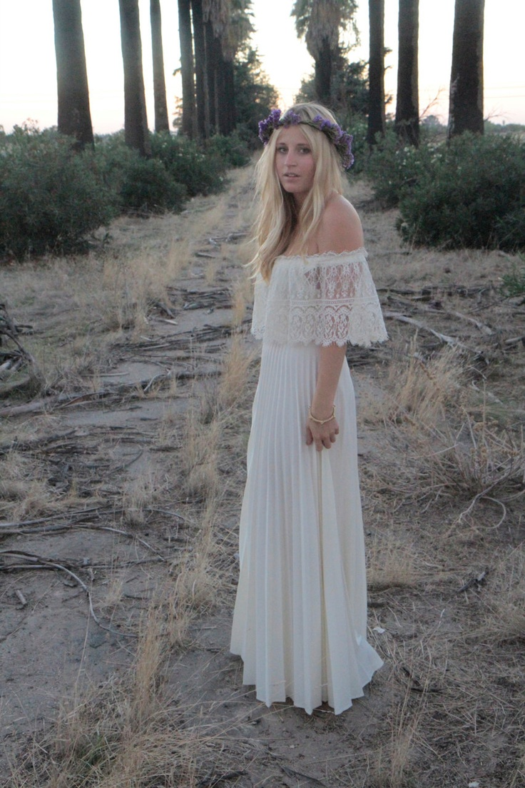 Vintage wedding gown dress bohemian lace off the shoulder Hippie vintage wedding dresses