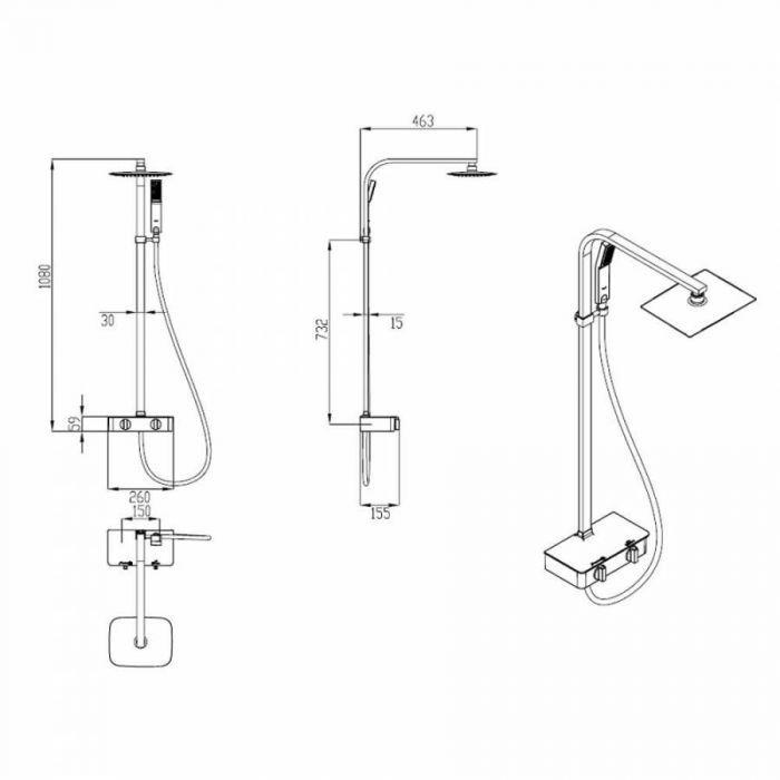 Esta columna de ducha termostática Hudson Reed incluye una llave de ducha mezcladora termostática expuesta, alcachofa, ducha de mano, flexible y columna de ducha.