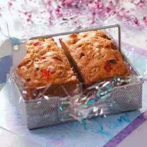 Okay people, the 12 Dates of Christmas Cherry Chip Loaf turned out great.  It is so moist and yummy.  I was so excited to make this recipe...