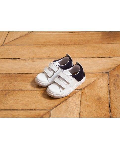Witte sneakers marineblauw M. Moustache