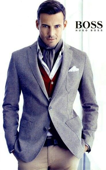 Hugo Boss men's outfit-this would look so great with red hair but he'd never wear anything like it ever