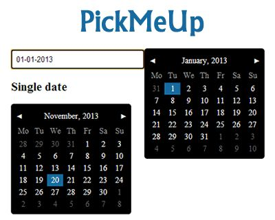PickMeUp – jQuery Datepicker Plugin #jQuery #datepicker #calendar #daterange #picker #date