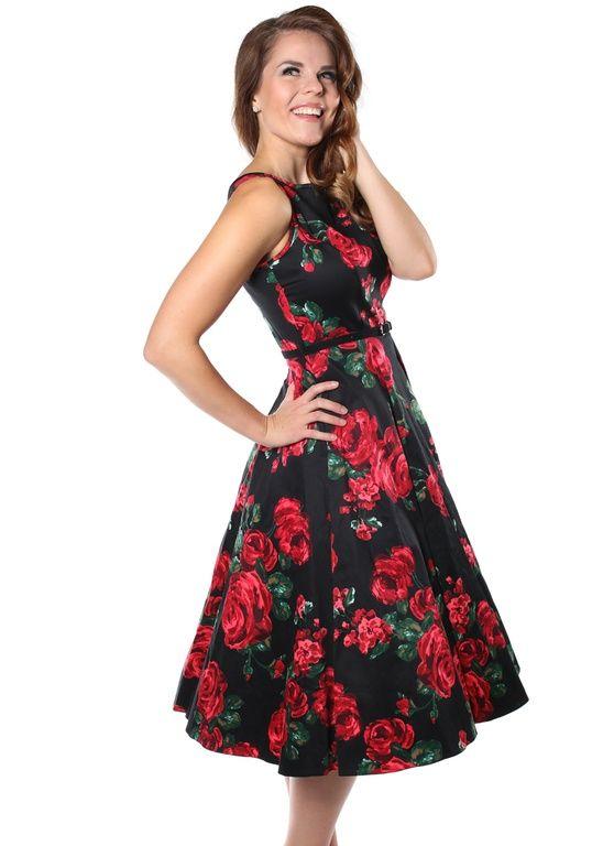 Яркое платье из хлопка с принтом роз и классическим силуэтом. Платье можно носить в любое время года, оно станет прекрасным нарядом для торжественного
