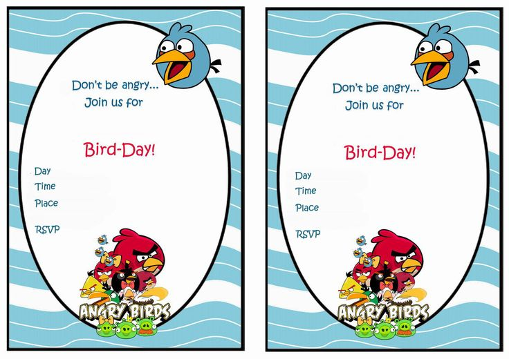 Angry Birds FREE Printable Birthday Party Invitations
