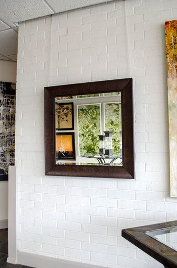 a custommade brown square mirror perfect for the living room or entryway framed bathroom
