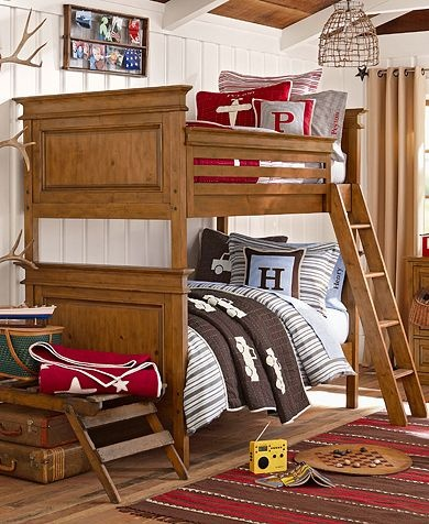 "Though I don't think God is going to bless us with any more children, I just love this shared boy's bedroom. Also from the ""Lakehouse"" collection"