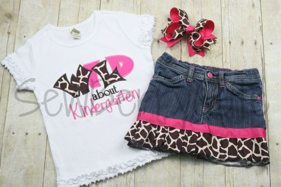 Wild about Kindergarten Outfit First Day of School Outfit Kindergarten Shirt Back to School Shirt