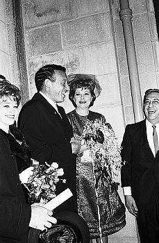 Lucille Ball and Gary Morton on their wedding day, November 19, 1961.