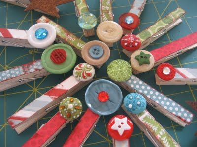Look!  Buttons on the clothespins!  Even cuter!  Bring those clothespins back over Emily and I'll glue some more cuteness on!